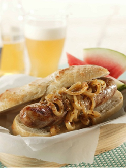 Grilled Bratwurst with Onions Braised in Beer and Mustard Recipe