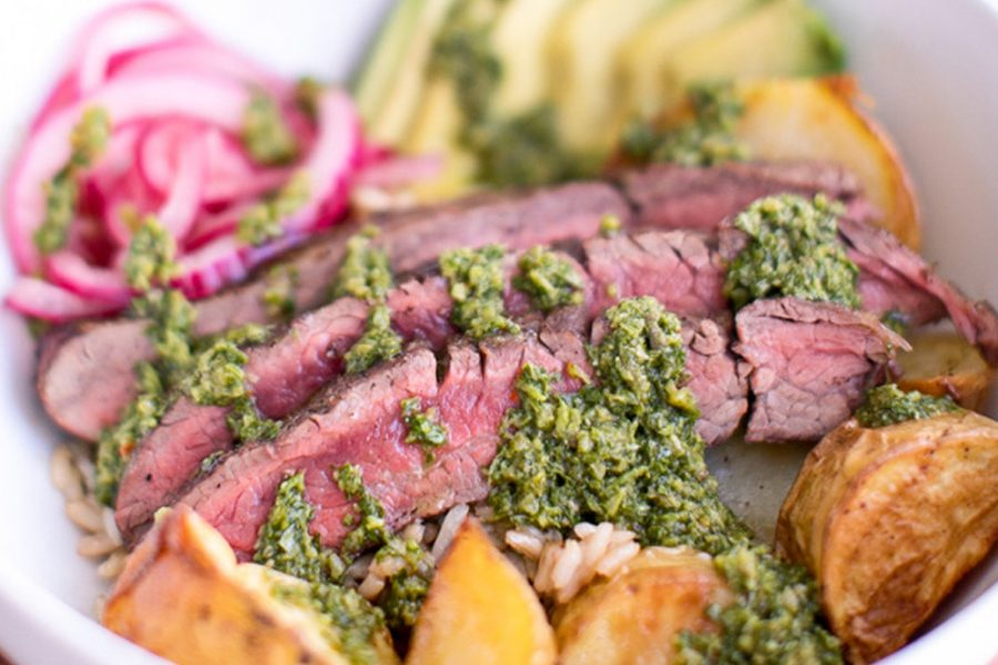 Chimichurri Steak Bowls with Roasted Potatoes Recipe