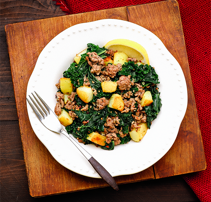 GREENS AND SAUSAGE WITH POTATOES RECIPE