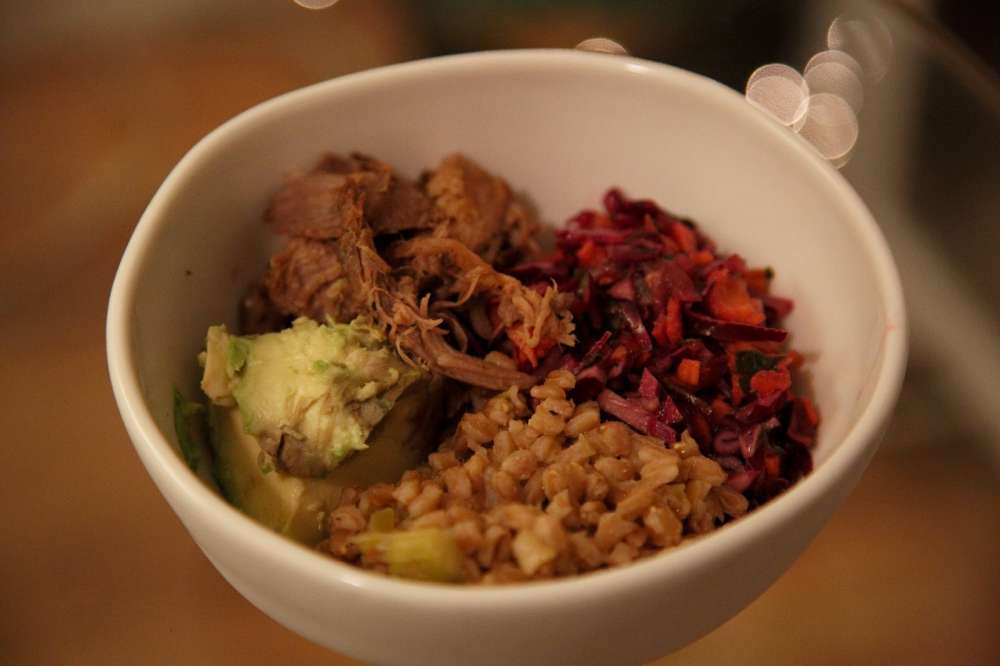 John Schwint's New York Pulled Pork Farro Bowl