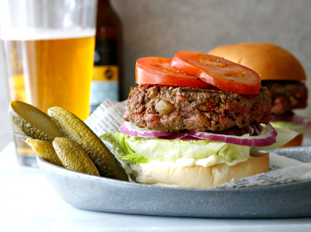 hatched green chili bison burger