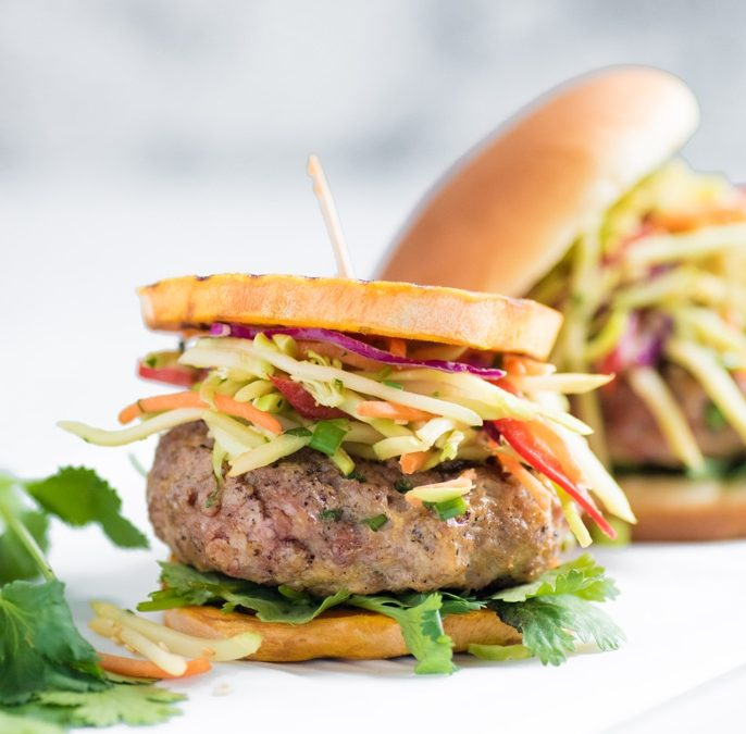 Asian Pork Burgers With Broccoli Slaw Recipe