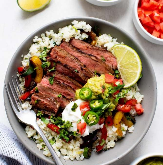 Steak Fajita Bowls With Cilantro-Lime Cauliflower Rice Recipe