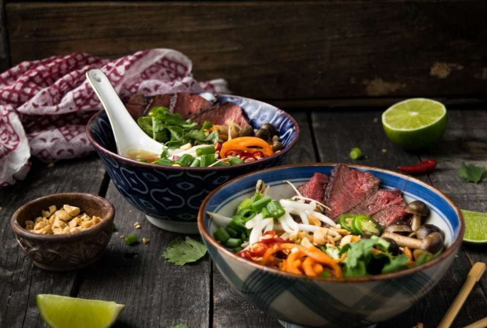 Beef Pho with Beech Mushrooms and Sweet Potato Noodles Recipe