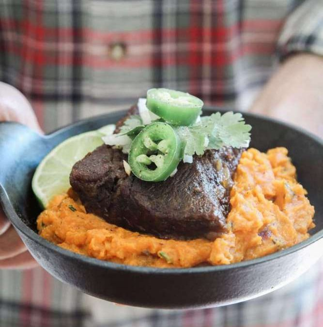 Beef Short Ribs & Chipotle Smashed Sweet Potatoes Recipe