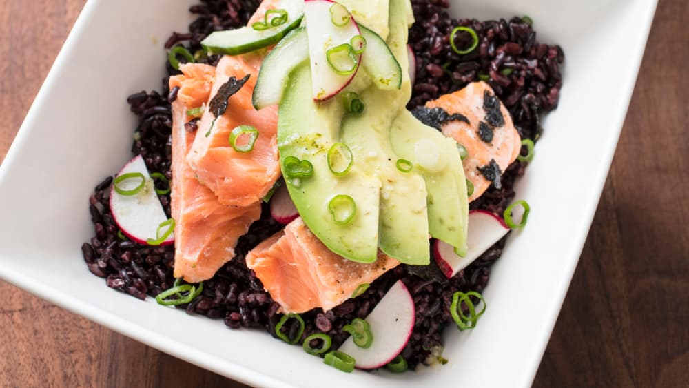 wild rice bowl with salmon