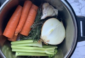 bone broth, instant pot chicken bone broth, collagen, celery, carrots
