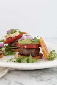 sweet potato sliders, grass-fed beef, burgers