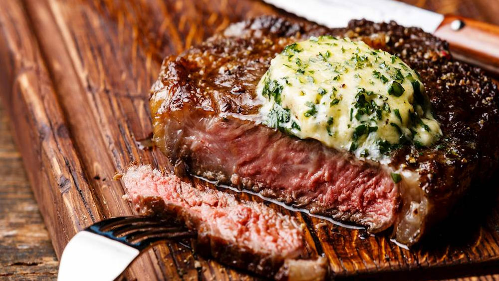 Grilled Delmonico Steak with Herb Butter Recipe