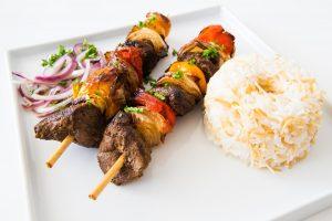 lamb kebabs, grass-fed lamb, recipe, rice