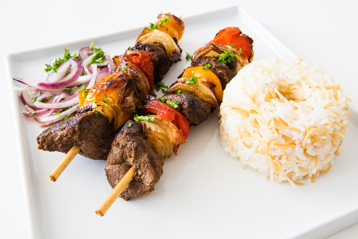 lamb kebabs, grass-fed lamb, recipe, rice