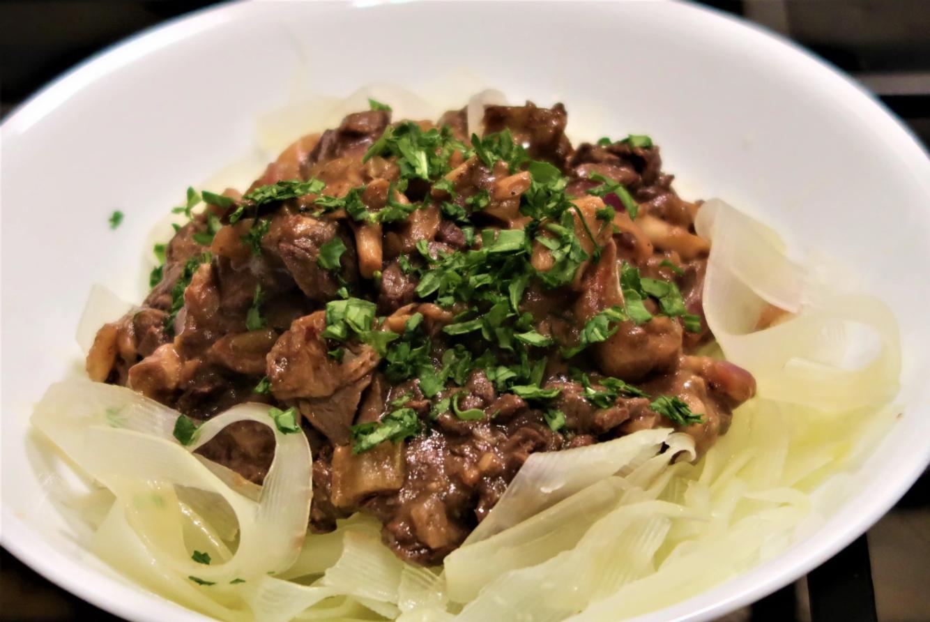 aip beef stroganoff, beef stroganoff, papaya noodles, stacey venacio