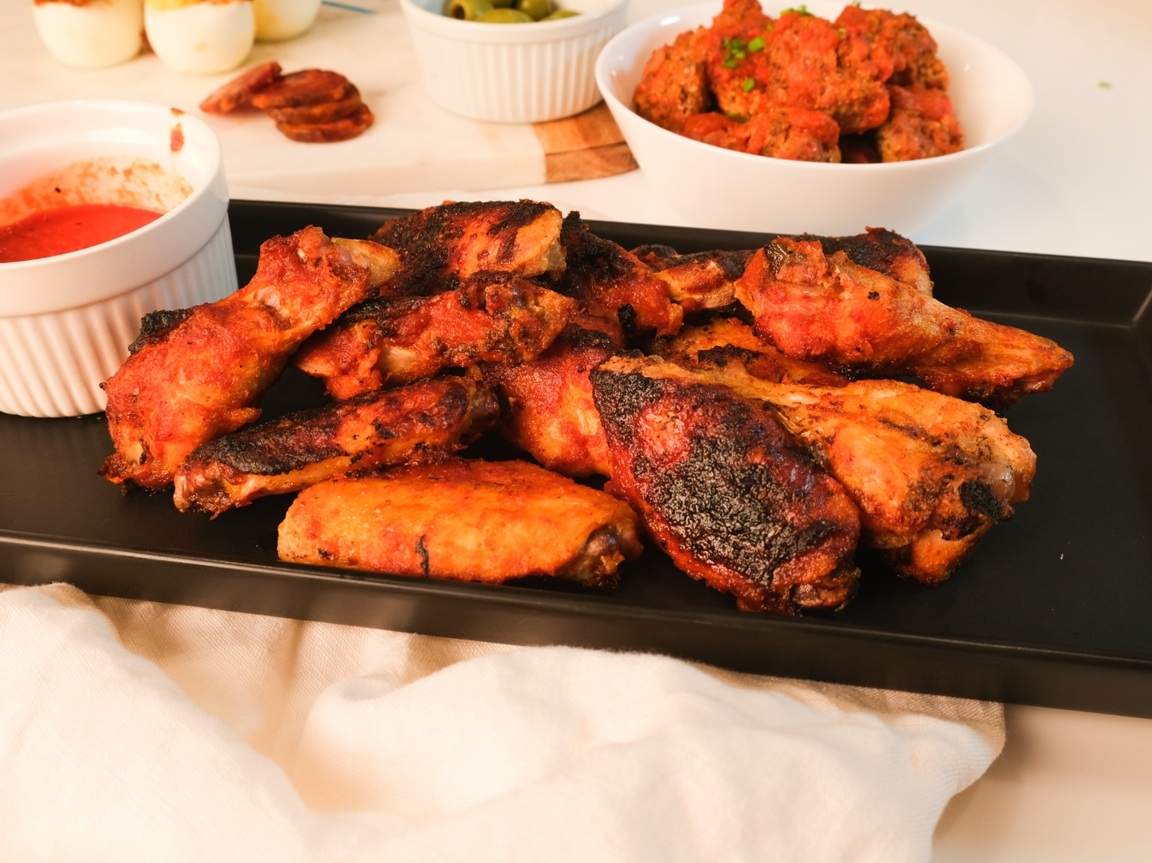 chicken wings, pastured poultry, spanish bbq chicken wings, tori sellon
