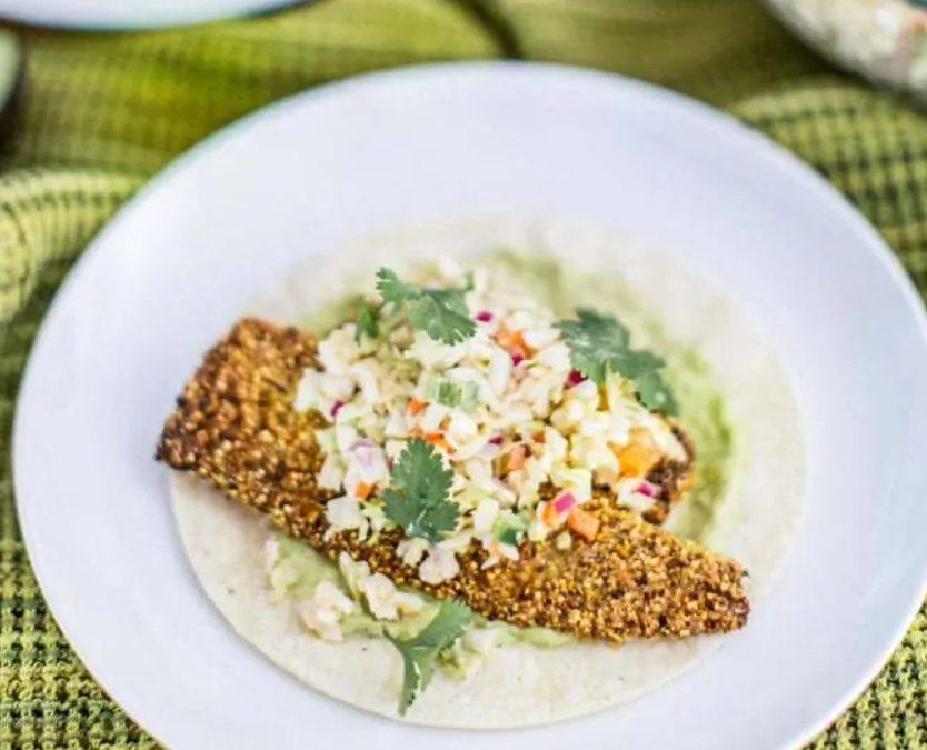Gluten-Free Baja Fish Tacos With Avocado Crema + Chipotle Slaw