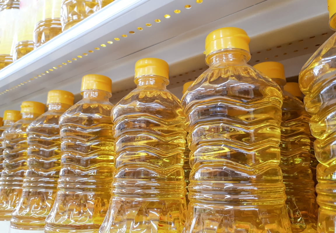 vegetable oil bottles, processed food