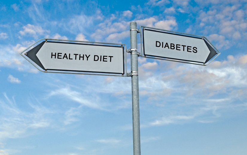 Opposite street signs that say Healthy Diet and Diabetes