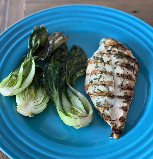 Grilled Sesame Ginger Chicken with Grilled Bok Choy Recipe