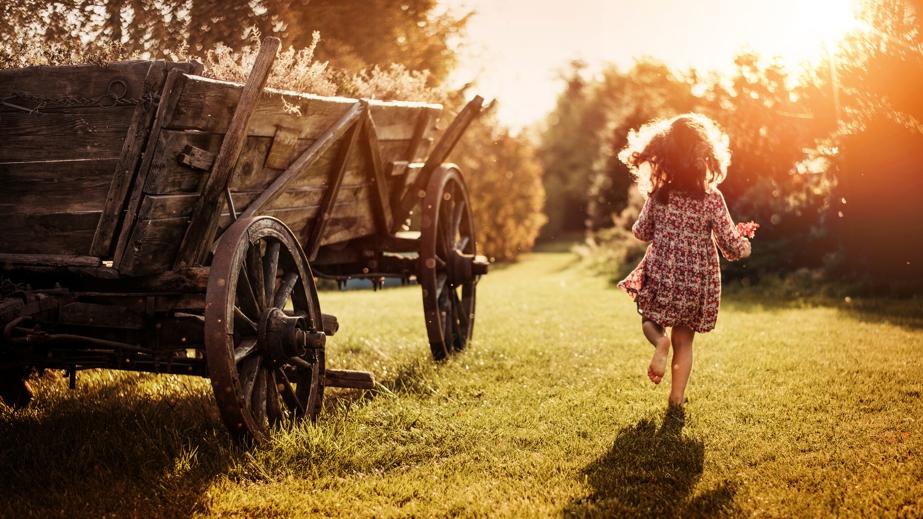 family farms, little girl running on farm