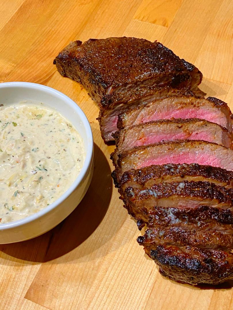 coffee rubbed steak, steak recipe, grassfed beef