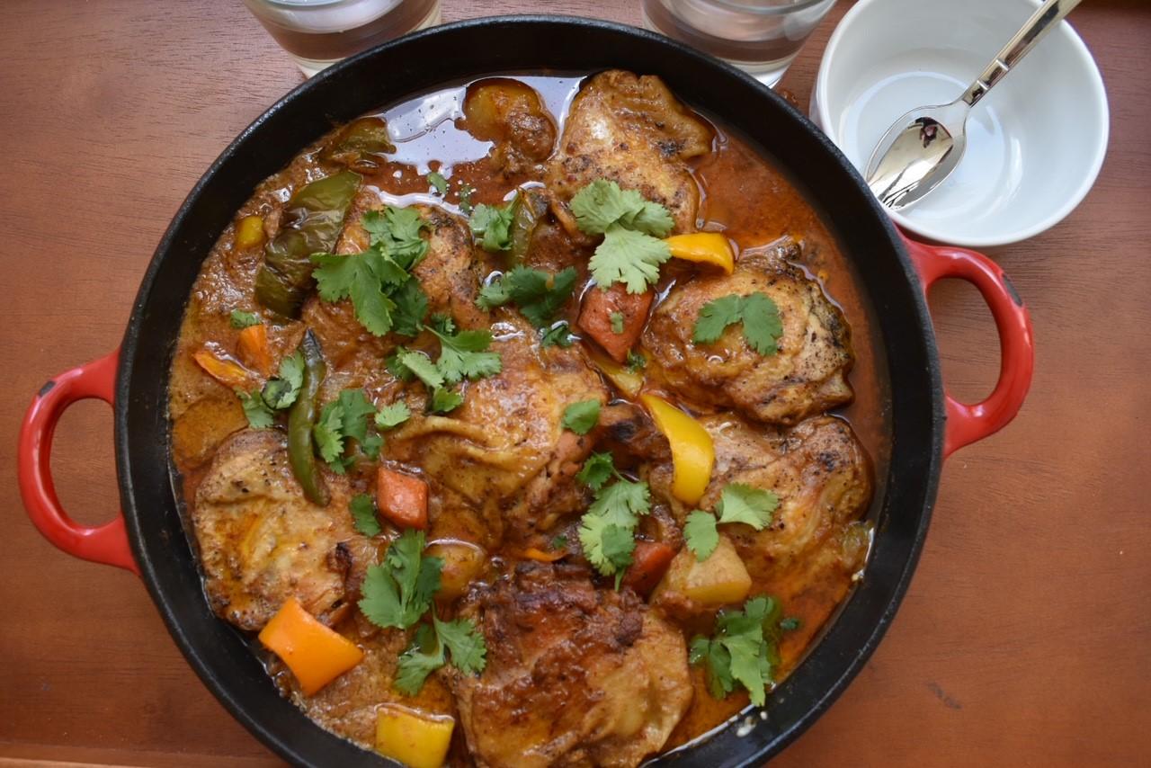 chicken thigh curry, curry recipe, chicken recipe, tee gardner