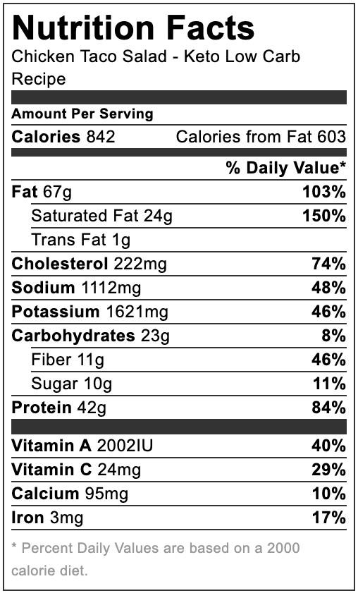 nutrition info, keto chicken taco salad