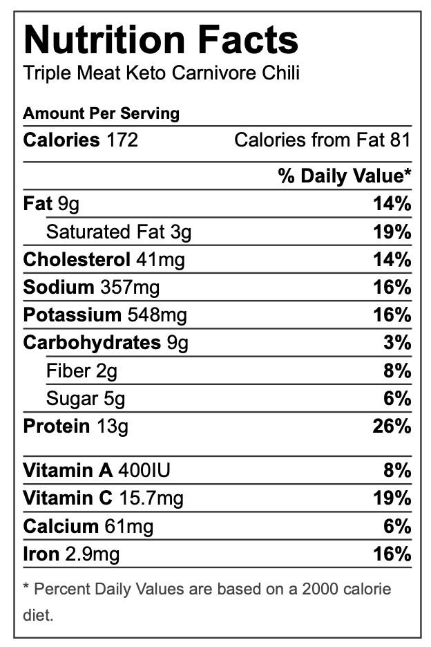 nutrition, keto carnivore chili, cheryl mccolgan