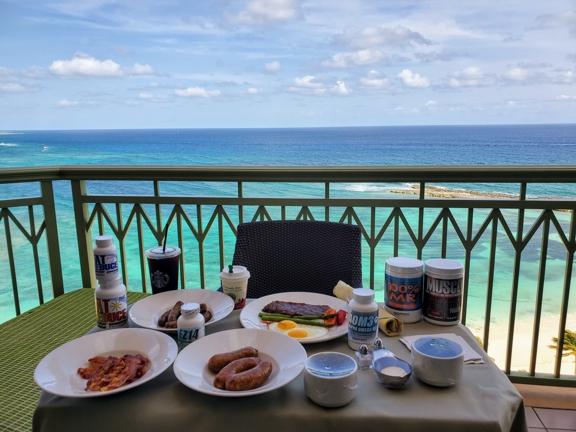 Breakfast in Bahamas with ocean front view