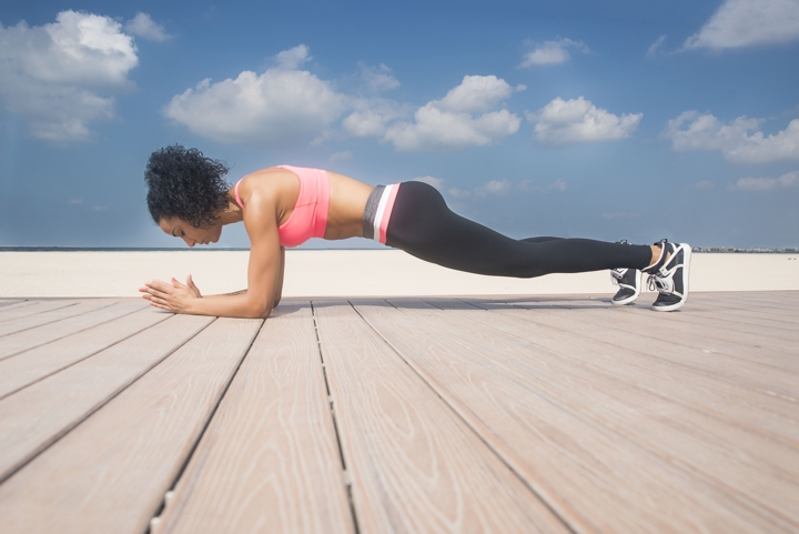 woman plank exercise, fat loading