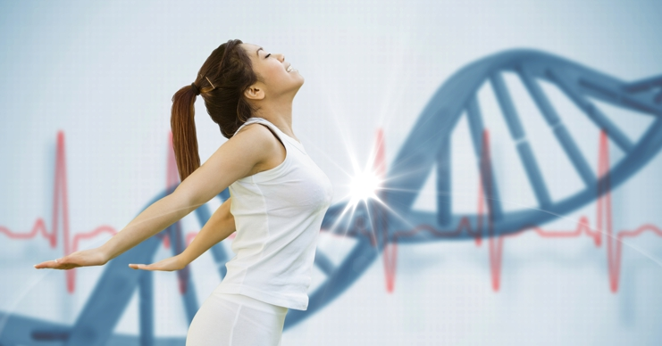 genetic blueprint, young woman & dna