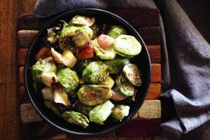 maple bacon brussels sprouts, roasted apple, megan barrett, recipes, sugar-free pork bacon