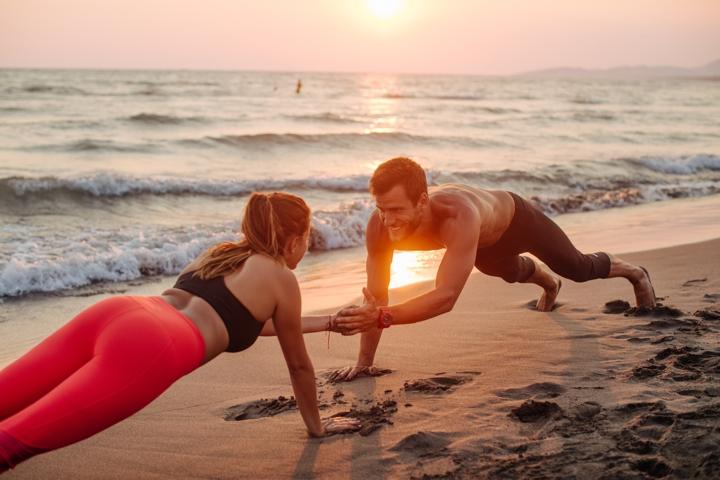 fat burning strategies, beach exercise, pushups